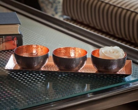 Bronze Copper Bowls and Tray Santa Barbara