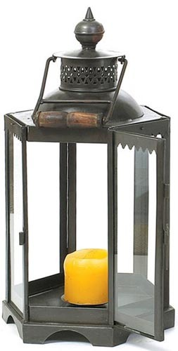 Small Black Iron Candle Lantern Santa Barbara