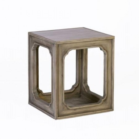 Recycled Pine and Marble Top Side Table Santa Barbara