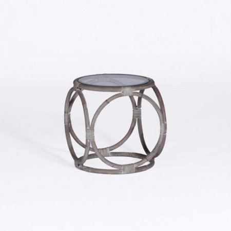 Rattan and Glass Accent Table Santa Barbara