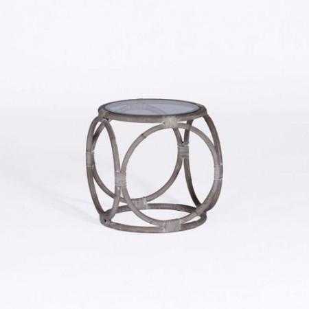 Rattan and Glass Accent Table Santa Barbara