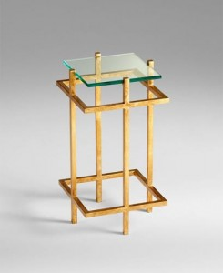 Gold End Table with Glass Santa Barbara
