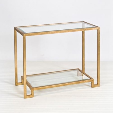 Gold Leafed Console with Beveled Glass Santa Barbara