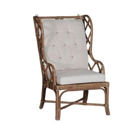 Rattan and Linen Occasional Chair Santa Barbara