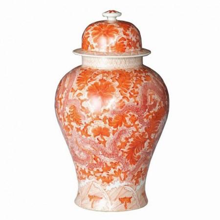Orange Dragon Temple Jar Santa Barbara
