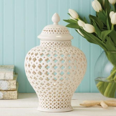 Pierced Ceramic Lantern Santa Barbara