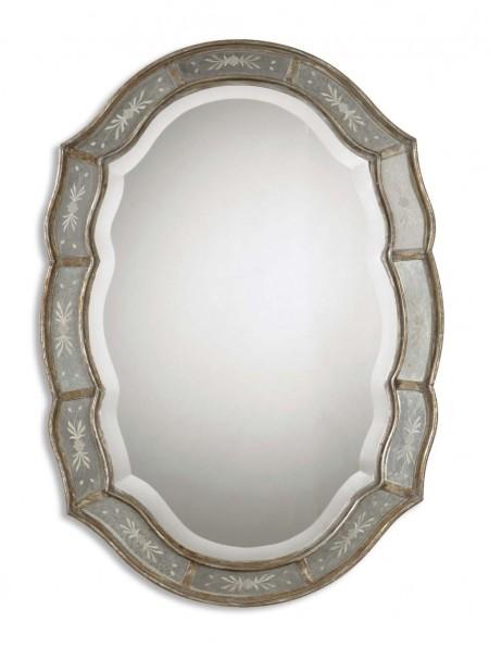 Gold Leaf Scalloped Mirror Santa Barbara