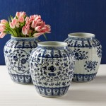 Blue and White Fluted Vases Santa Barbara