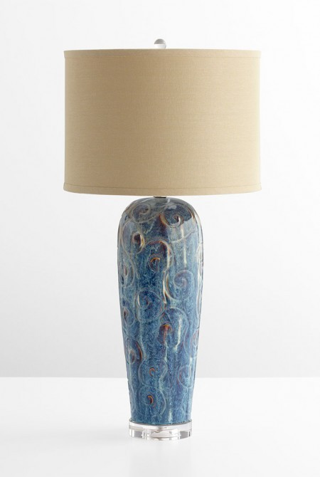 Blue Glaze Lamp Santa Barbara