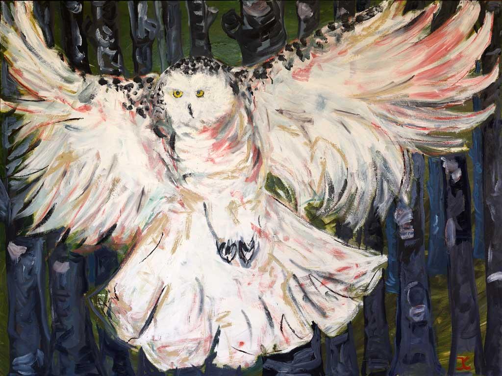 Snow Owl painting by Jessika Cardinahl