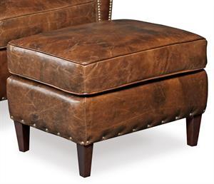 Ochre Leather Ottoman Santa Barbara