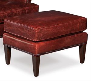 Oxblood Leather Ottoman Santa Barbara