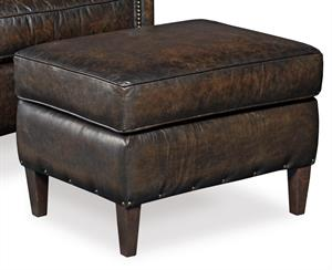 Bistre Leather Ottoman Santa Barbara