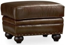 Seal Brown Leather Ottoman Santa Barbara
