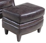 Charcoal Leather Ottoman Santa Barbara