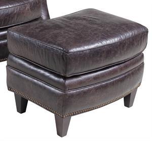 Charcoal Leather Ottoman Santa Barbara