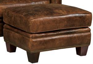 Russet Leather Ottoman Santa Barbara