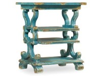 Three Shelf Blue Accent Table Santa Barbara