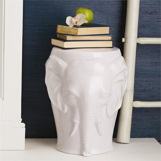 "Happy Elephant Ceramic Stool Santa Barbara Design Center4"" D x 18 1/2"" H"