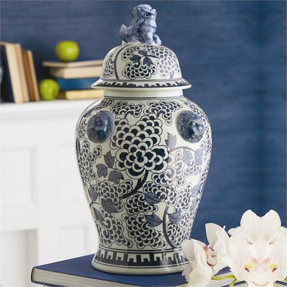 Poeny Flower Temple Jar Porcelain Santa Barbara Design Center