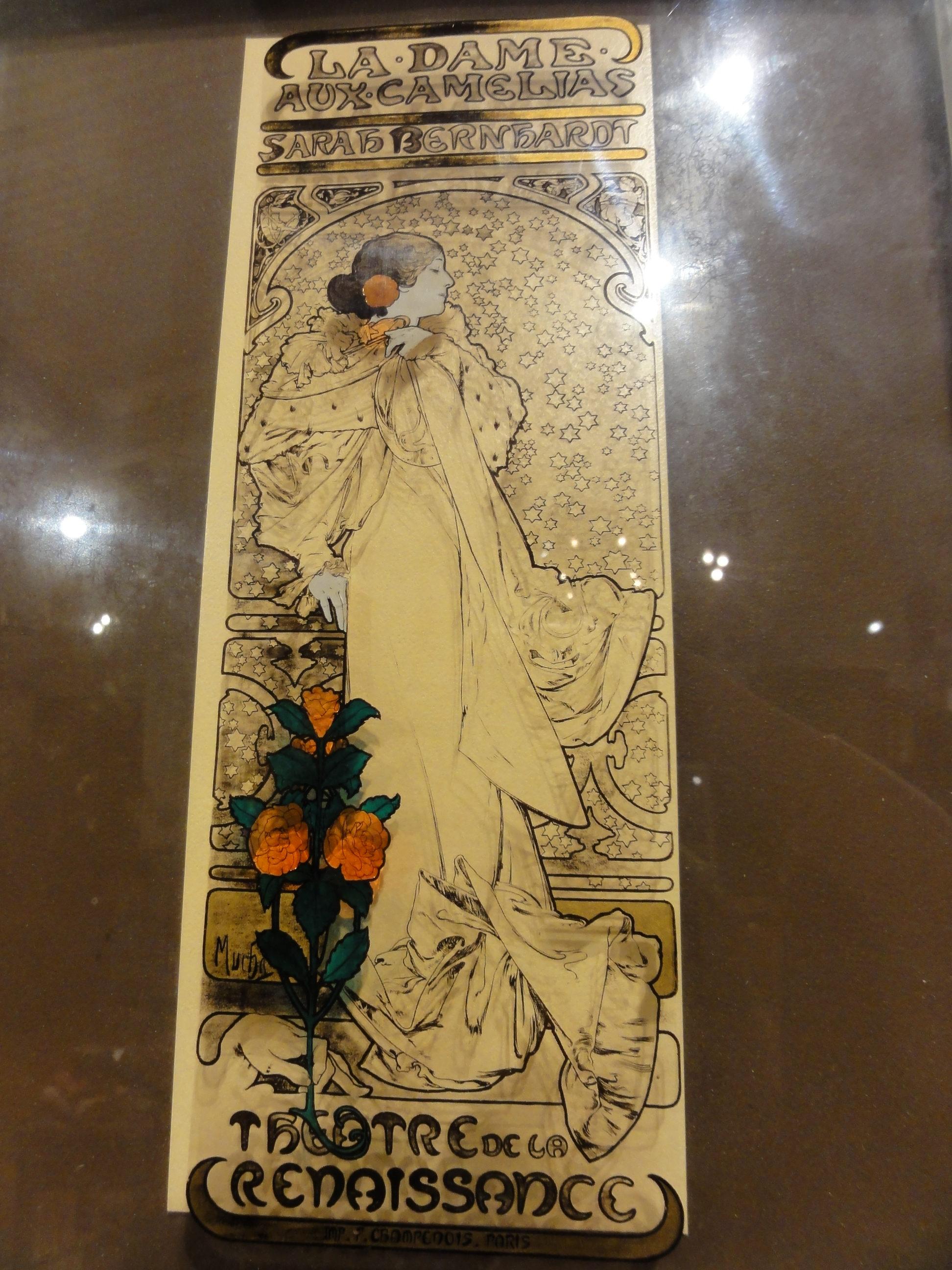 Antique Art Deco Portrait La Dame Aux Camelias