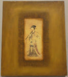 Antique Chinese Flute Player Painting. A good condition genuine antique sold by Santa Barbara Design Center in Santa Barbara, California.