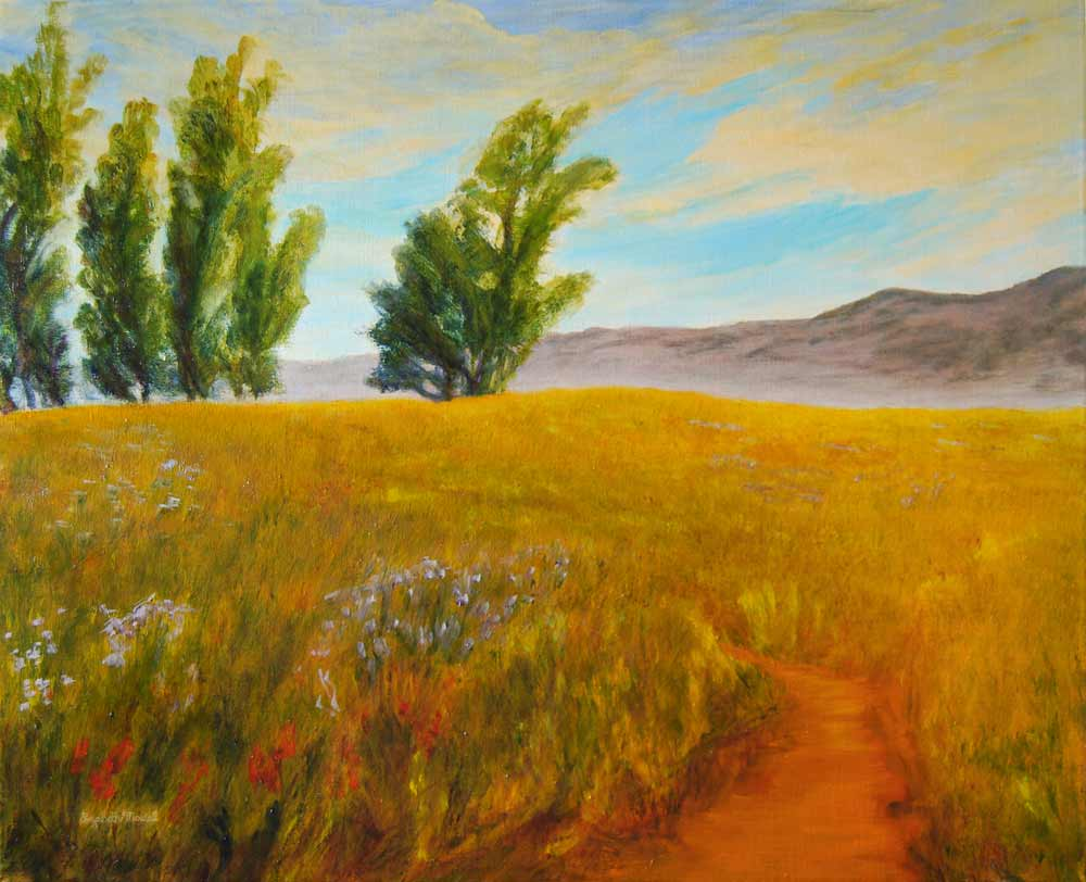 Santa Barbara Back Country oil on canvas painting hand painted by artist Lizabeth Madal. Shown at Santa Barbara Design Center. Size: 24 x 30