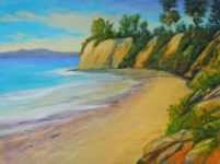 Butterfly beach oil on canvas painting hand painted by artist Lizabeth Madal. Size: 18 x 24