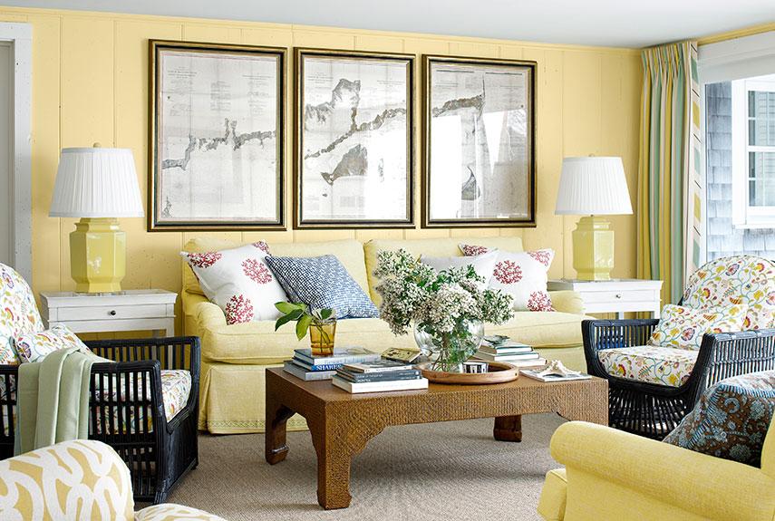 cat dinding ruang tamu warna kuning