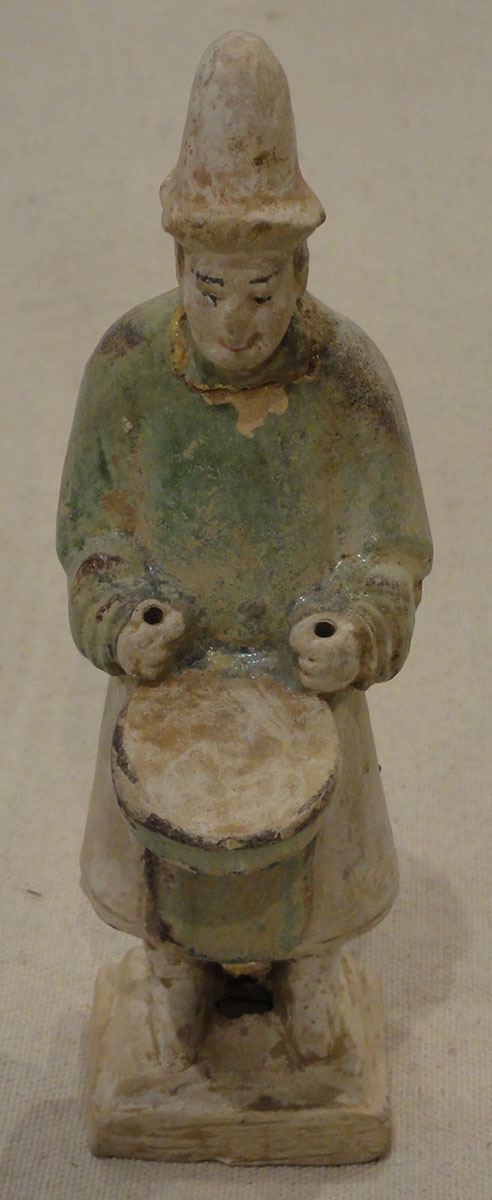 Tang Dynasty Clay Drummer Tomb Figure - Santa Barbara Design Center