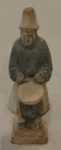 Tang Dynasty Clay Drummer Tomb Figure Blue