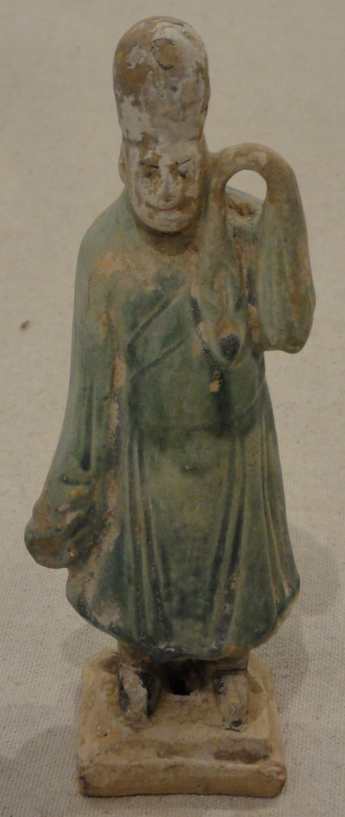 Tang Dynasty Clay Carrier Tomb Figure Green (Left)
