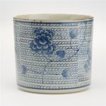"Wiz Bliss Planter - Blue and White Chrysanthemum Flower on Chain Pattern Vase/Planter Hand-Painted Porcelain Material: PORCELAIN Dimensions: 7 1/4"" H x 8"" Dia"