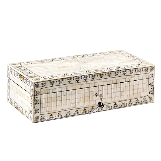"""Bone Bella Chest- Hand Carved Hinged Jewelry Chest with Key Closure - MDF/Buffalo Bone Material: BONE Dimensions: 20"""" W x 9"""" D x 6"""" H"""