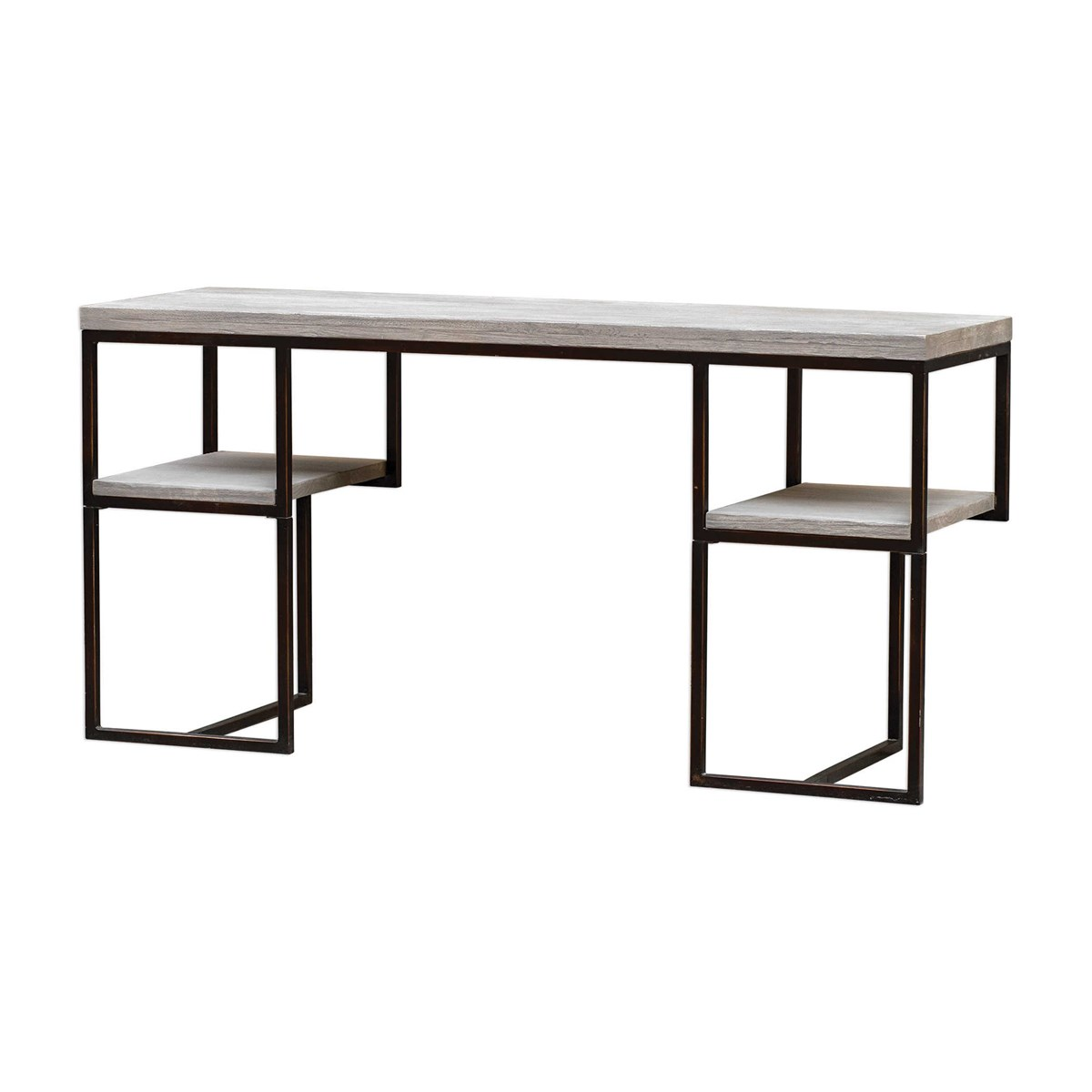 This modern writing desk features an open framed design with exposed display shelving, with mahogany wood surfaces in a warm latte finish, paired with antique bronze finished iron. Designer: Billy Moon Dimensions: 58 W X 29 H X 18 D (in) Weight: 66