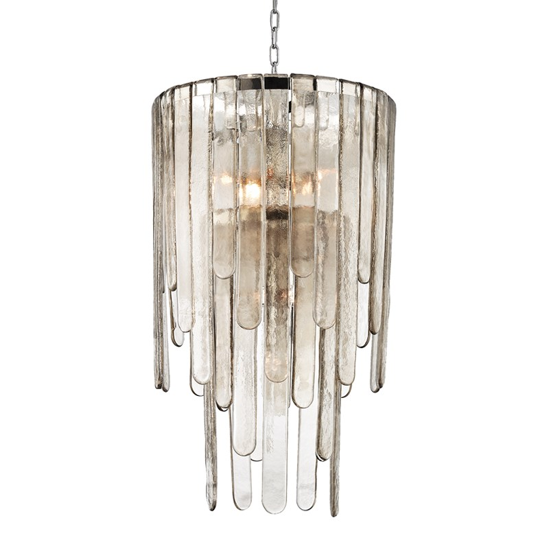 "Width/Diameter 20.00"" Height 35.75"" Min - Max Height 41.75"" - 93.25"" Backplate/Canopy/Base 5.50"" Shade Material glass Number of Lamps 9 Wattage 60w ea."