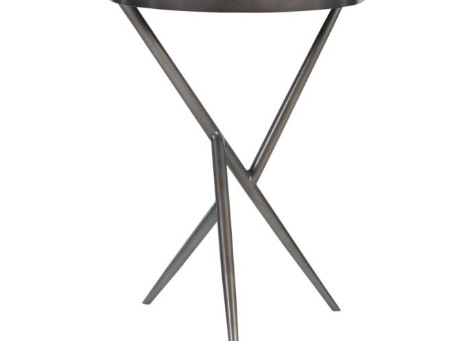 Absalom Accent Table is unique accent table features a fun angular steel base finished in gunmetal, complete with an antique mirror top. Dimensions: 18 W X 25 H X 18 D (in) Weight: 21