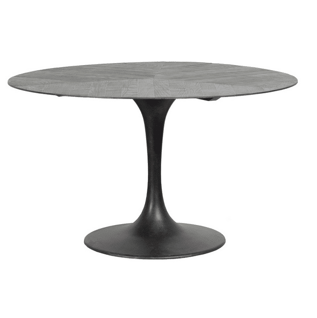 Cris Dining Table Black is elegantly shaped, and precision crafted. An iron base provides a sculptural element to the piece and is complemented by an oak wood top. The wood is hand finished to preserve the beauty of the grain and ensure Crestview Dining Table is the centerpiece of any space. 51W x 51D x 29.5H Oak Wood