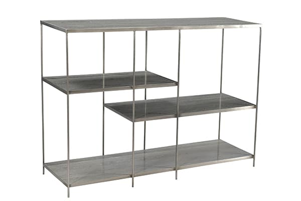 Marta Bookcase METAL NICKLE ANTIQUE, MARBLE CLEAR WAX SEALANT Length: 48 Depth: 15 Height: 34