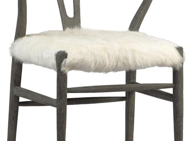 "Ress Chair Length: 22 Depth: 23 Height: 31 OAK FRAME, GREY WHITE FINISH GOAT SKIN NATURAL WHITE SEAT HEIGHT 19"""